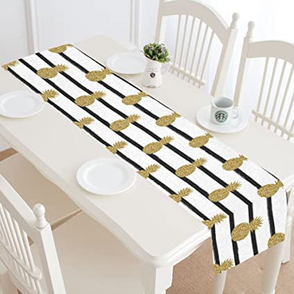 Interest Print Gold (Not Real) Glitter Pineapples Fruit Black White Stripes Table Runner Cotton Linen Cloth Placemat For Office Kitchen Dining Wedding Party Banquet 16 X 72 Inches by Interest Print