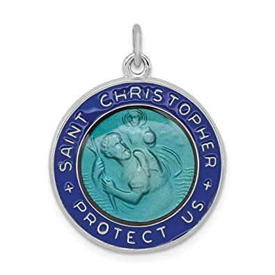8746cf026bb Image Unavailable. Image not available for. Color: 925 Sterling Silver Enameled  Saint Christopher Medal Pendant Charm Necklace Religious ...