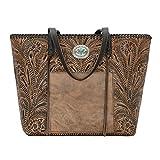 American West Women's Santa Barbara Large Shopper Tote Distressed Charcoal Brown/Chocolate Handbag