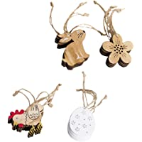 F Fityle 4 Packs Happy Easter Wooden Rooster Bunny Wooden Pendents Gift Tags - Full Easter Festive Atmosphere