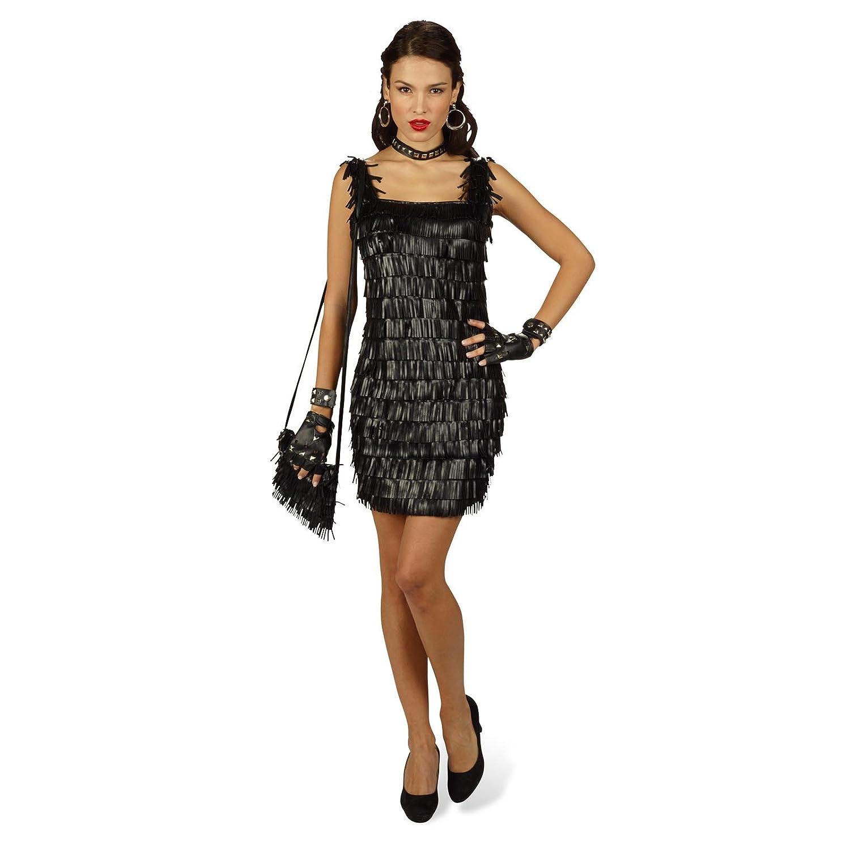 Mini vestido con flecos de piel sintética - vestido de ...