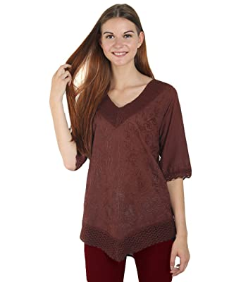f64e9849265 Arovi Women Pure Cotton Hand Embroidered 3/4 Sleeve V Neck Loose Indian  Tunics & Tops For Women Brown at Amazon Women's Clothing store: