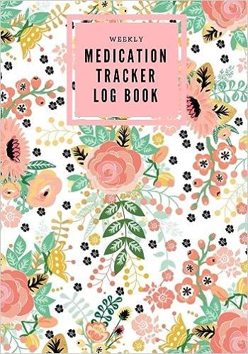 weekly medication tracker log book pink floral daily medicine