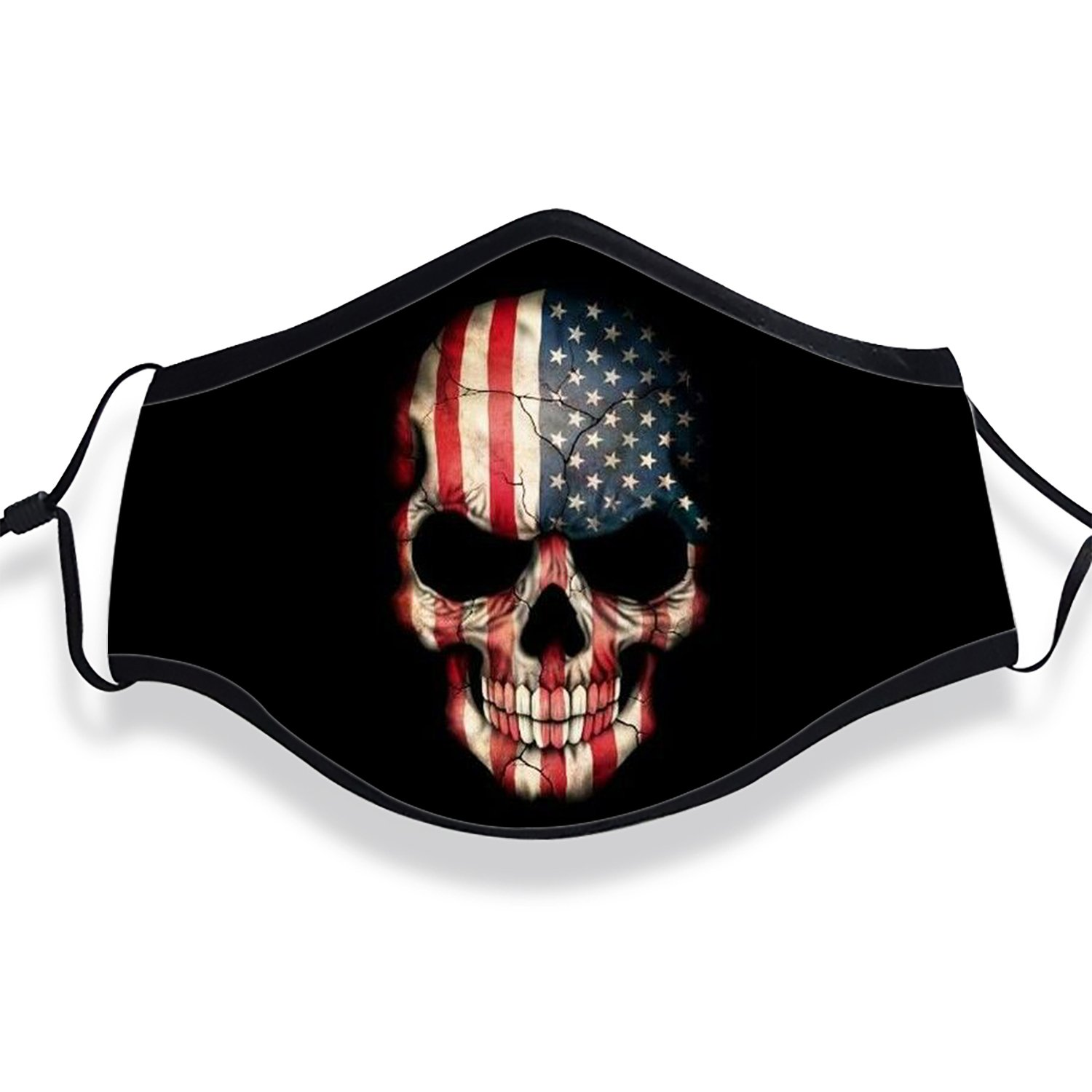 XREE USA Flag Skull Anti Dust Face Mouth Cover Mask Respirator Cotton Protective Breath Healthy Safety Warm Windproof Mask (Mask + Filters)