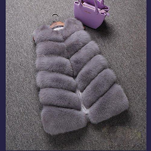 sintética de Chaqueta de de invierno mujer de piel para de Gris abrigo FOLOBE abrigo piel YXdwXq