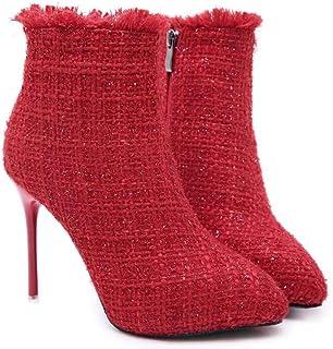 Mamrar Donne Caviglia Stivaletto Punta 11Cm Stiletto Vestito Stivali Scarpe Da Sposa Burr Bling Corte Scarpe Eu Dimensioni 34-40