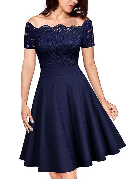 79c928540c47 KOJOOIN Damen Spitzenkleid 1950er Cocktailkleid Vintage ...