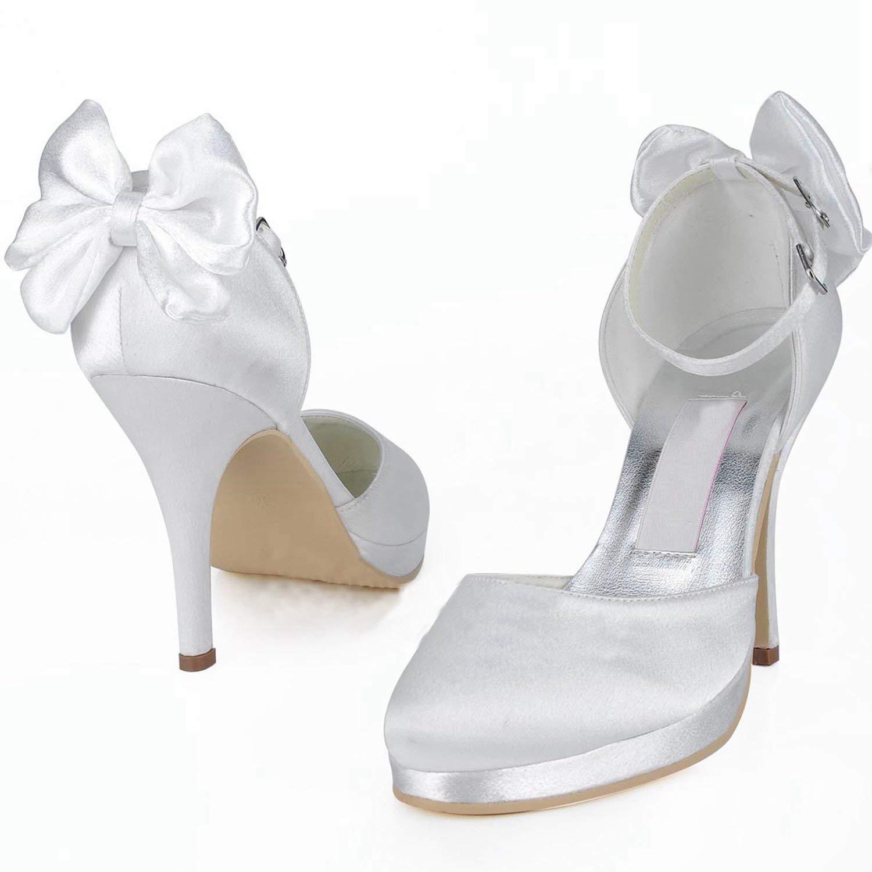 HhGold Frauen Ankle MZ546 Round Toe Ankle Frauen Strap Satin Hochzeit Abend Prom Pumps Schuhe (Farbe   Weiß-10cm Heel, Größe   7.5 UK) 7785c9