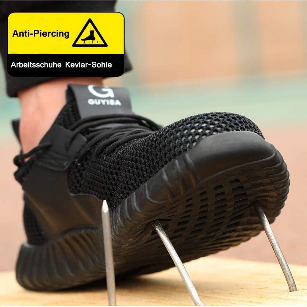 TQGOLD Scarpe Antinfortunistica Uomo Donna S3 Estive Scarpe da Lavoro con Punta in Acciaio Super Leggere(Nero,Taglia 41)