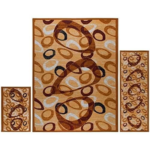 Home Dynamix Ariana Badah 3 Piece Area Rug Set | Warm & Plush Blue Rug | Living Room, Dining Room, Bedroom | Traditional Persian Bold Border Design | 4'11