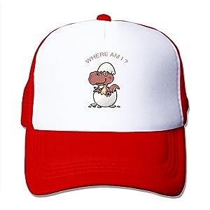 Funny Dinosaurs Eggs Adult Adjustable Trucker Mesh Hat Baseball Cap Red