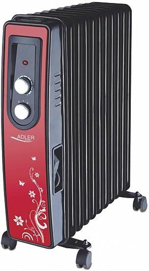Adler AD 7803 - Radiador de aceite, 11 aletas calefactoras, color rojo, 1 unidad: Amazon.es: Bricolaje y herramientas