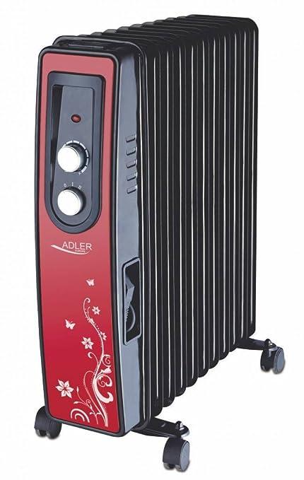 Adler AD 7803 - Radiador de aceite, 11 aletas calefactoras, color rojo, 1