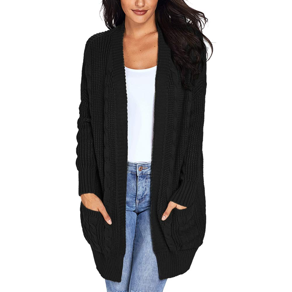 d.Stil Women's Open Front Long Sleeve Chunky Cable Knit Loose Cardigan Knitwear Coat with Pockets for Spring Winter Autumn