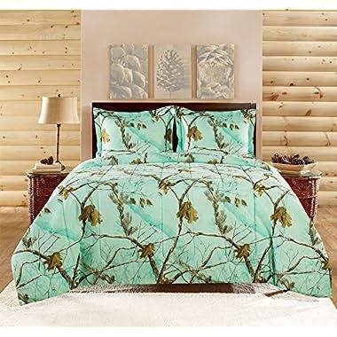 Realtree APC 3 Piece Comforter Set, Queen, Bright Mint