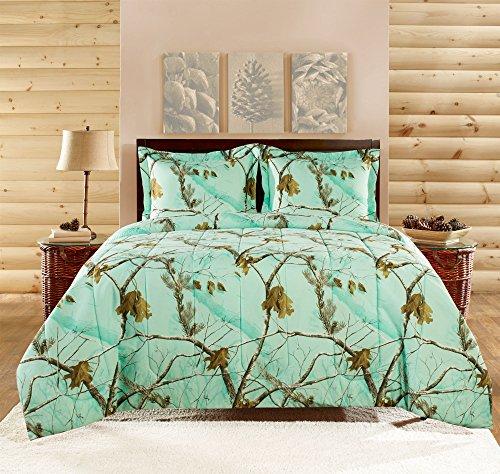 Realtree APC 3 Piece Comforter Set, Full, Bright Mint - Mint Green Bedding: Amazon.com