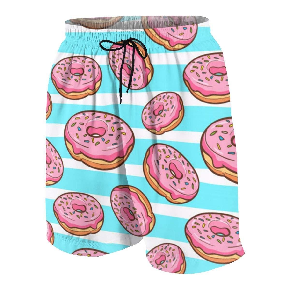 Donuts Boys Swim Trunks Quick Dry Boys Swim Shorts for Big Boys