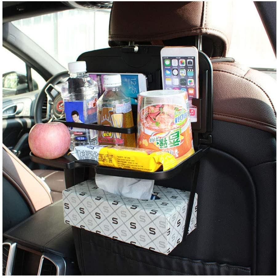 HorBous Car Seat Back Organizers, Car Dining Table, Foldable Car Seat Table Tray, Portable Car Seat Food Storage Tray, for Storing Drinks, Snacks, Books, etc. (black)