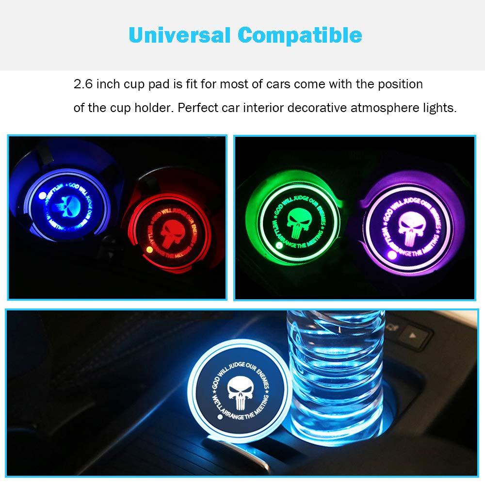 Universal BukNikis LED Car Cup Holder Mats Pads Dog Paw RGB LED Lights Car Drink Coaster Accessories Interior Decoration Atmosphere Light Pack of 2