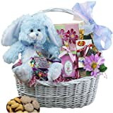 My Special Bunny Easter Gift Basket with Blue Plush Bunny Rabbit