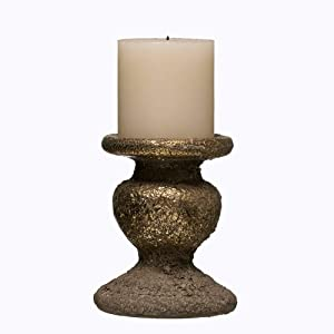 4-Inch Decorative Gold Textured Terracotta Pillar Candle Holder – Holiday Table Decoration – Home Decor Accent