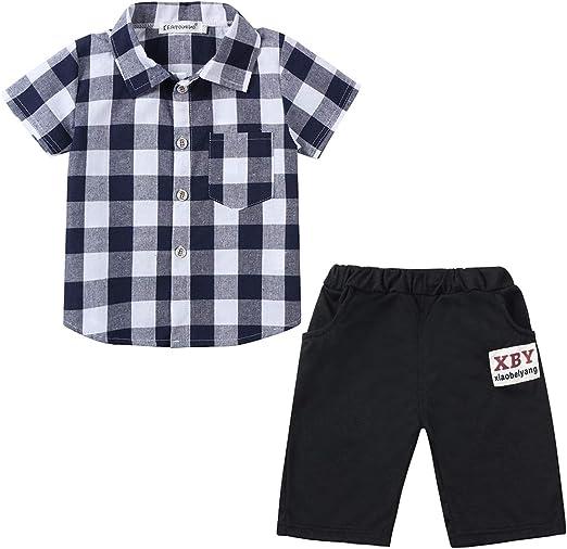 Boys Clothing Short Sets 2Pcs Plaid Shirt Button-Down Tops and Casual Short Pants