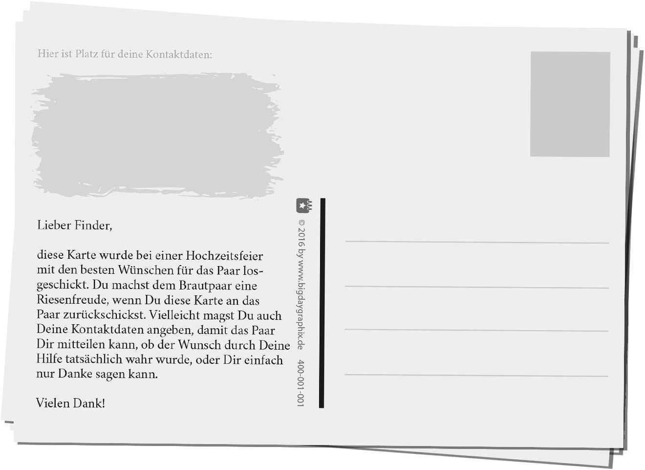 bigdaygraphix 50 Ballonflug-Karten Hochzeits-Karten Hochzeitsspiel extra leicht A6 Ballon Karten Holzoptik rustikal Blackwood mint