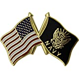 """American and Navy Crossed Flags 1"""" Lapel Pin"""