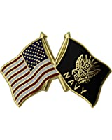 "American and Navy Crossed Flags 1"" Lapel Pin"