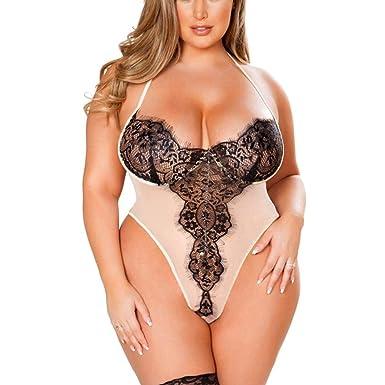 FELZ Mujer Tallas Grandes Sujetador de Encaje Lencería Sexy Babydoll siamesed Body Ropa de Dormir: Amazon.es: Ropa y accesorios