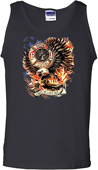 Tee Hunt Firefighter Hero US Flag Tank Top Red Stripe Fire and Rescue FD Sleeveless