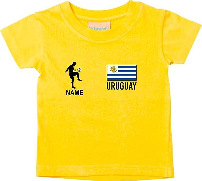 Shirtstown Camiseta Niño Camiseta de Fútbol Uruguay con su Jungen Estampado - Amarillo, 0-