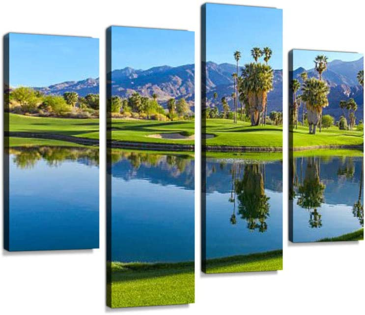 Amazon Com Golf Course In Palm Springs California P Canvas Wall Art Hanging Paintings Modern Artwork Abstract Picture Prints Home Decoration Gift Unique Designed Framed 4 Panel Posters Prints
