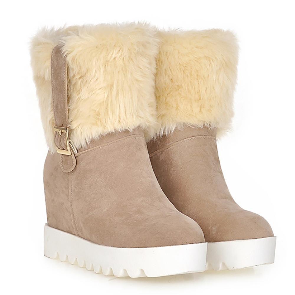 SHANGXIAN Damen Winter flache runde Zehen Plain-Zehen PU Stiefeletten Snow Stiefel