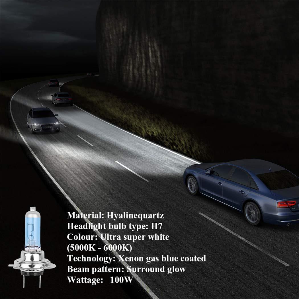 UKMASTER H7 Scheinwerferlampe 4 St/ück H7 Halogen Lampe Super Wei/ß Xenon 12V 100W Autolampen