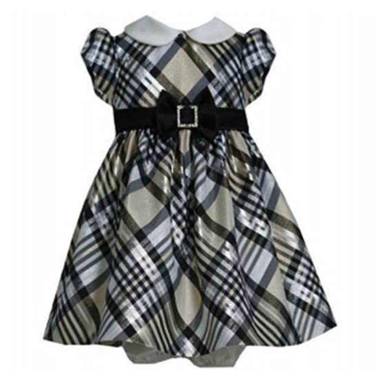 8b9050a819db Amazon.com  Bonnie Jean Baby-Girls Gold Taffeta Plaid Dress  Clothing