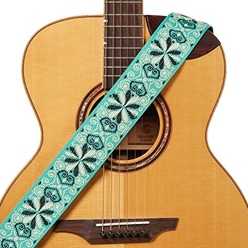 (Amumu Hootenanny Jacquard Guitar Strap Green Polyester for Acoustic, Electric and Bass Guitars with Lace Tie - 2.3