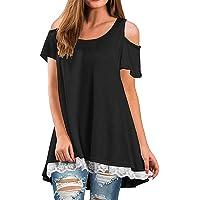 1d988b7682f5 TWGONE Tunic Dresses for Women Short Sleeve Ladies Off Shoulder T-Shirt  Scoop Neck Casual