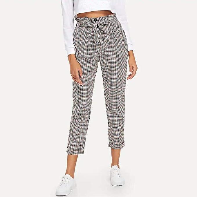 Pantalón de mujer de papel con diseño de cuadros, cintura alta ...
