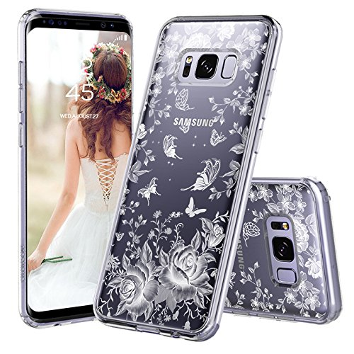 (Galaxy S8 Case, Galaxy S8 Cover, MOSNOVO White Roses Garden Floral Printed Flower Clear Design Plastic Back Hard Case with Soft TPU Bumper Protective Case Cover for Samsung Galaxy S8 (2017))