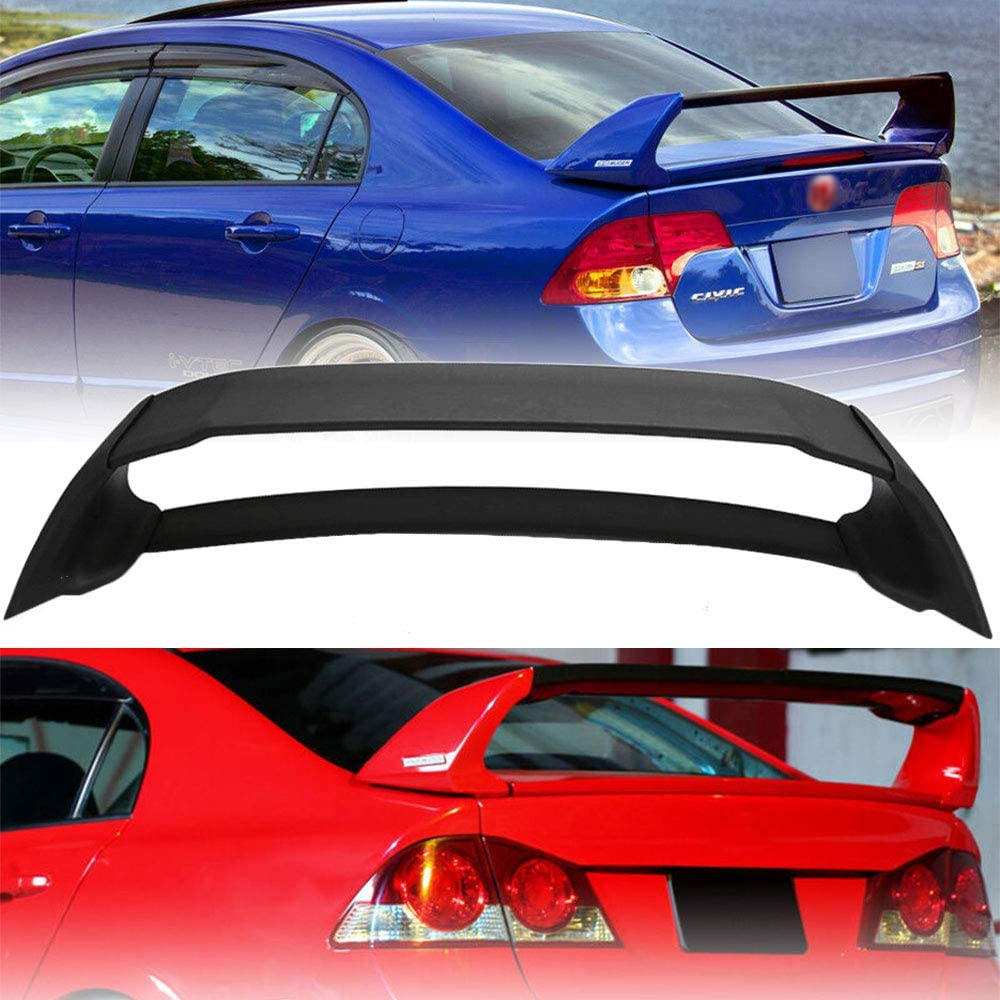 Trunk Wing Spoiler for 06-11 Honda Civic 4DR Sedan Unpainted Mugen Style RR 4Pic FFMT Rear Trunk Spoiler
