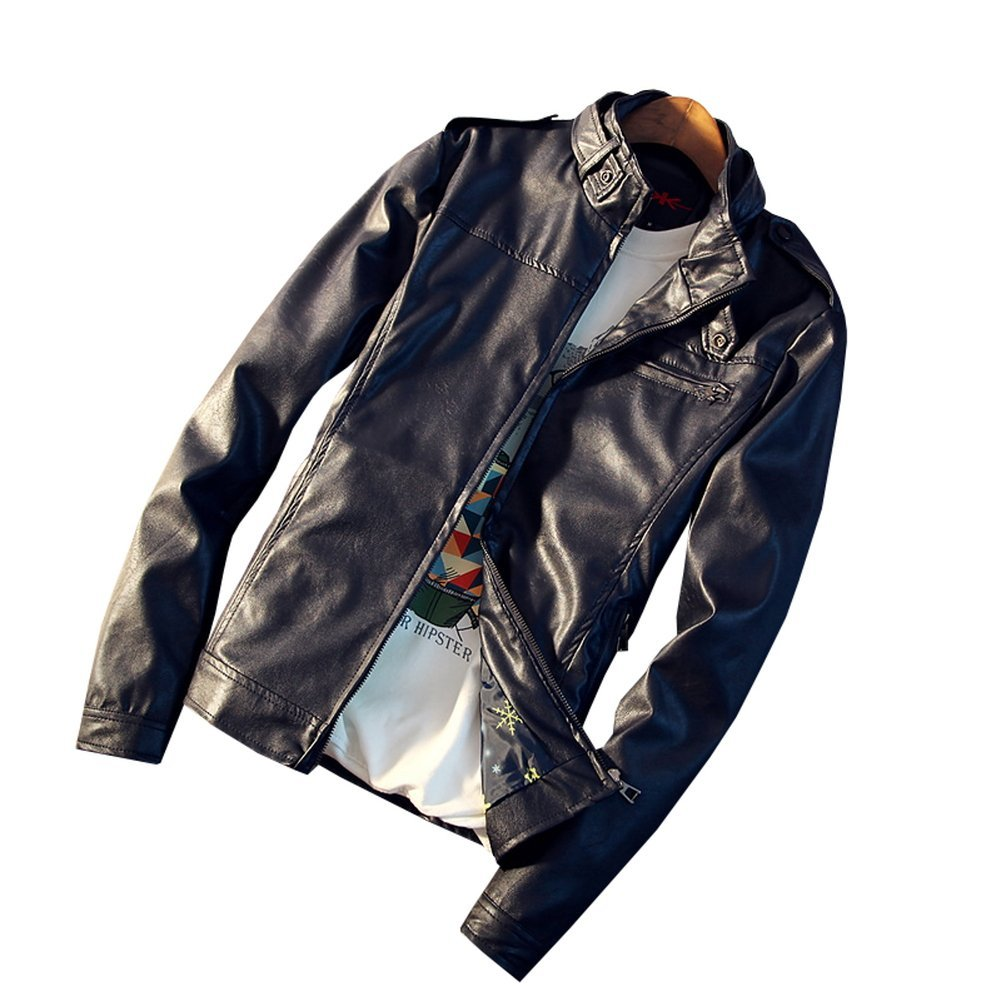 [sweet bell] ライダースジャケット 夏 メンズ ツーリング 服装 オールシーズン シングル ダブル ジップアップ フェイク レザー 合皮 革ジャン u2a088-106p90 B07FXF8X4W S|ネイビー ネイビー S