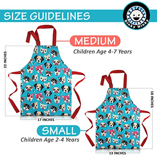 Child Apron For Cooking and Painting - Unique Cute Dog Print in Wipe Clean PVC Coated Cotton for Toddlers Age 4-7 (medium, blue) by Dinky Ninky (Image #2)
