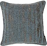 McAlister Plush Textured Chenille Plump Filled 20″ Throw Pillow | Denim Blue 20×20″ Decor Toss Cushion | Metallic Velvet Linen Modern Rustic Accent For Sale