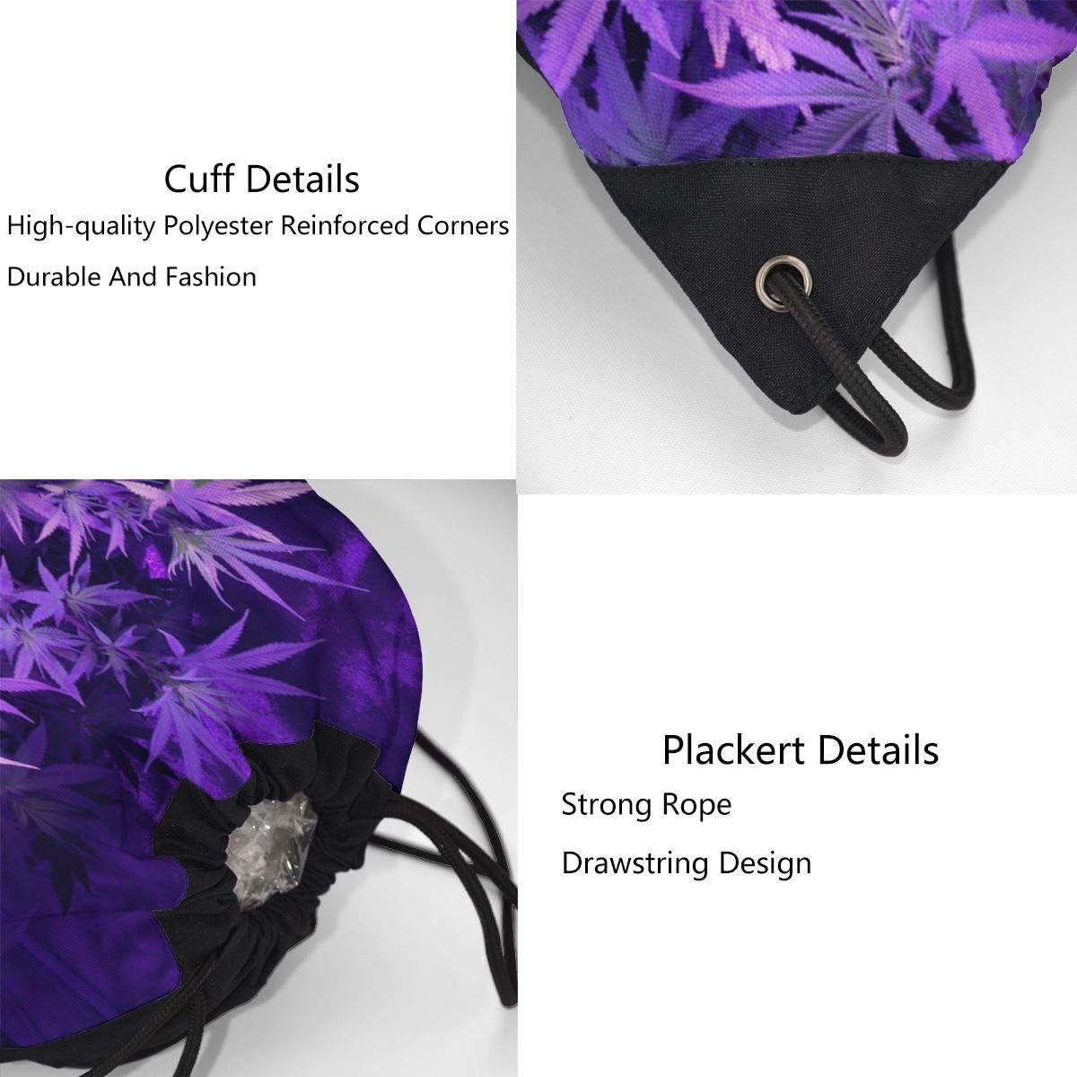 CKJL-YJ Purple Weed Marijuana Leaf Unisex Drawstring Backpacks Sport Leisure Bag