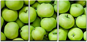 wall26 - 3 Piece Canvas Wall Art - a Lot of Green Apples as a Background - Modern Home Art Stretched and Framed Ready to Hang - 16