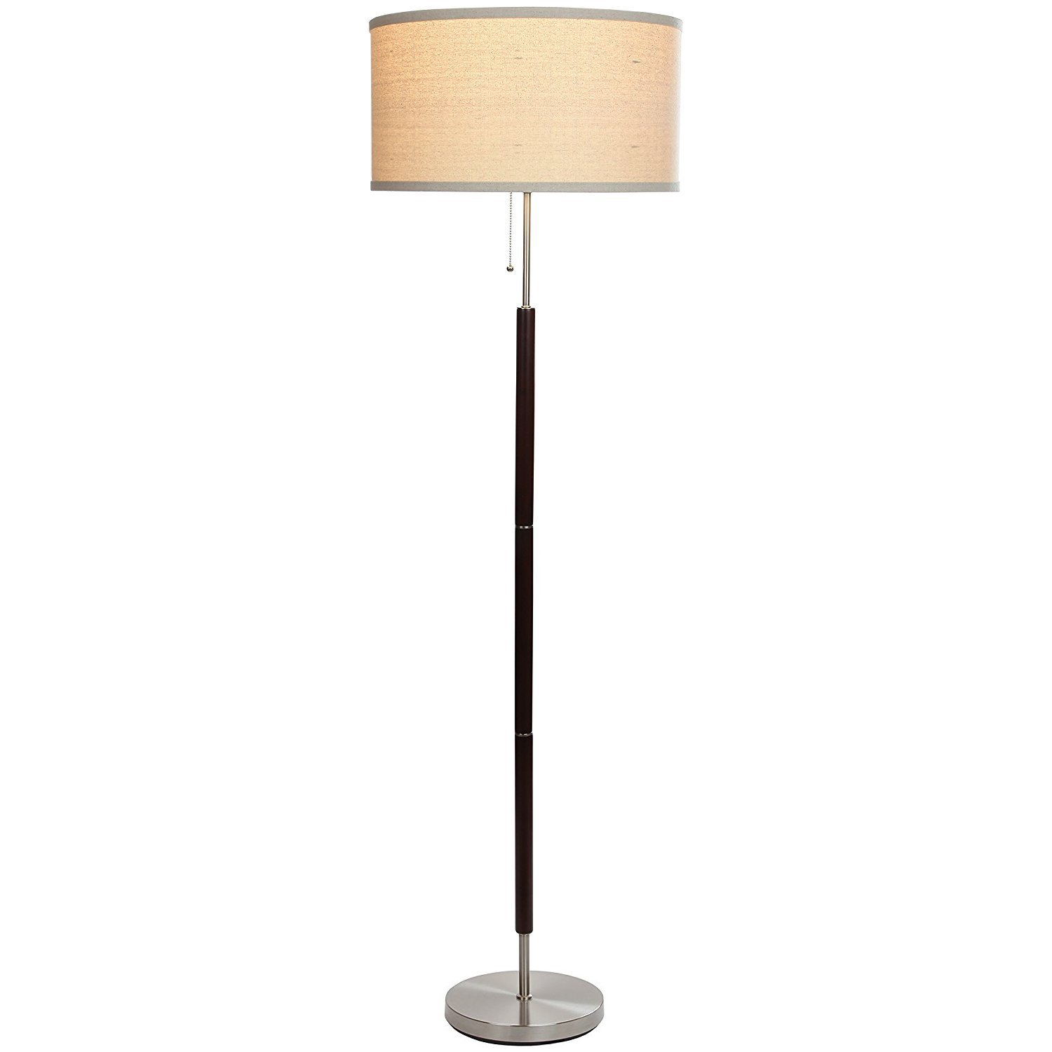 Brightech Carter LED Mid Century Floor Lamp - Modern Living Room Standing Pole Light - Alexa Compatible - Tall Drum Shade Uplight and Downlight with Walnut Wood Finish