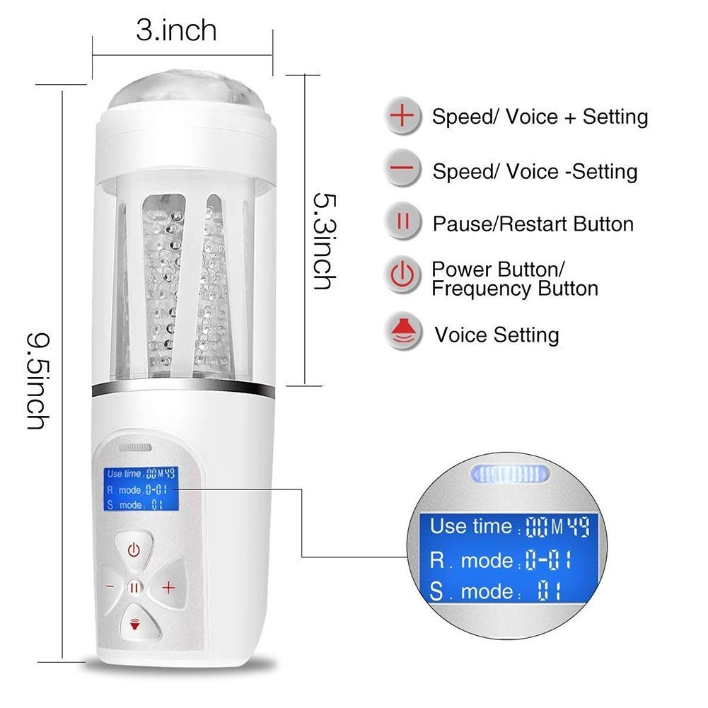 Large Size Oral-Cup Man's Best Gift for Release Pressure Energy LED Intelligent Sucking 360° Rotating 10 Pattern 5 Speed Toy by LAWAW