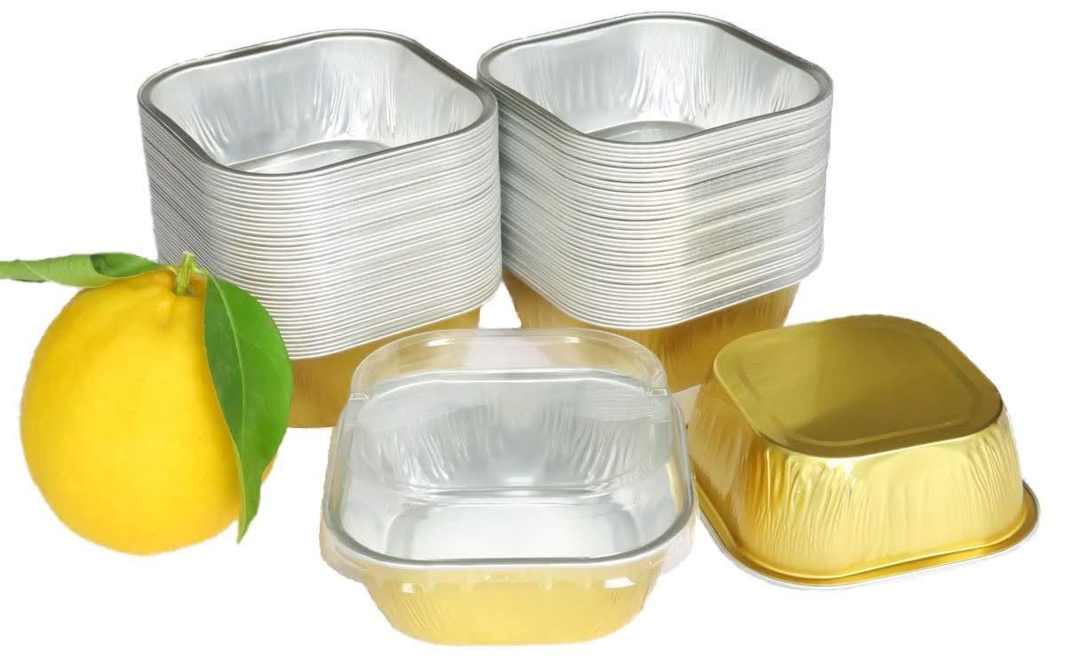 KitchenDance Disposable Aluminum 4'' x 4'' Square 8 ounce Dessert Pans W/Lids - #ALU6P (GOLD, 100) by KitchenDance (Image #2)
