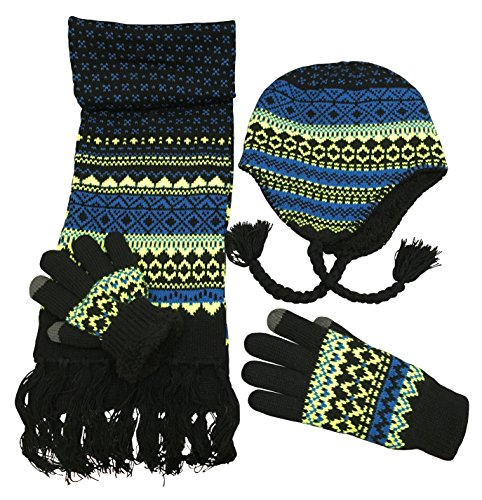 N'Ice Caps Boys Sherpa Lined Knit Hat Scarf Touchscreen Glove 3PC Skier Set